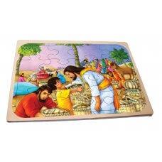 Isus čudom hrani gladne, drvene puzzle za djecu